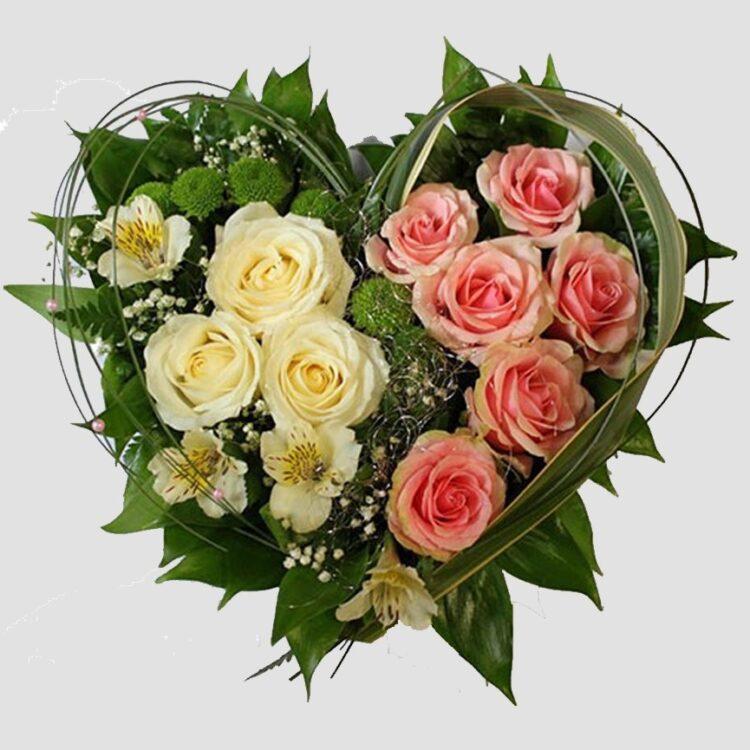 От сърце букет от пъстри цветя